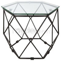 Modern Hexagon Clear Glass Side Table in Black