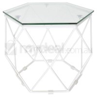 Modern Hexagon Clear Glass Side Table in White
