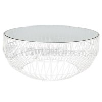 Modern Bend Wire Clear Glass Coffee Table in White