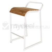 Oscar Industrial Steel Bar Stool in White & Timber