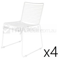 4x Replica Xavier Bend Wire Dining Chair in White