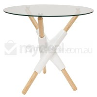 Andrea Glass Dining Table w/ Natural and White Legs