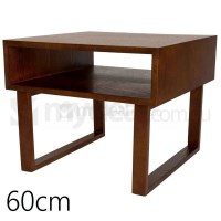 Olle Square Wooden Bedside Table in Walnut 60cm