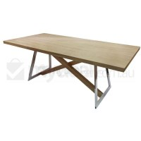 Oliver Wooden Dining Table w/ Steel Legs in Natural