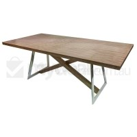 Oliver Wooden Dining Table w/ Steel Legs in Walnut