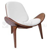 Replica Hans Wegner Shell Chair in White and Walnut